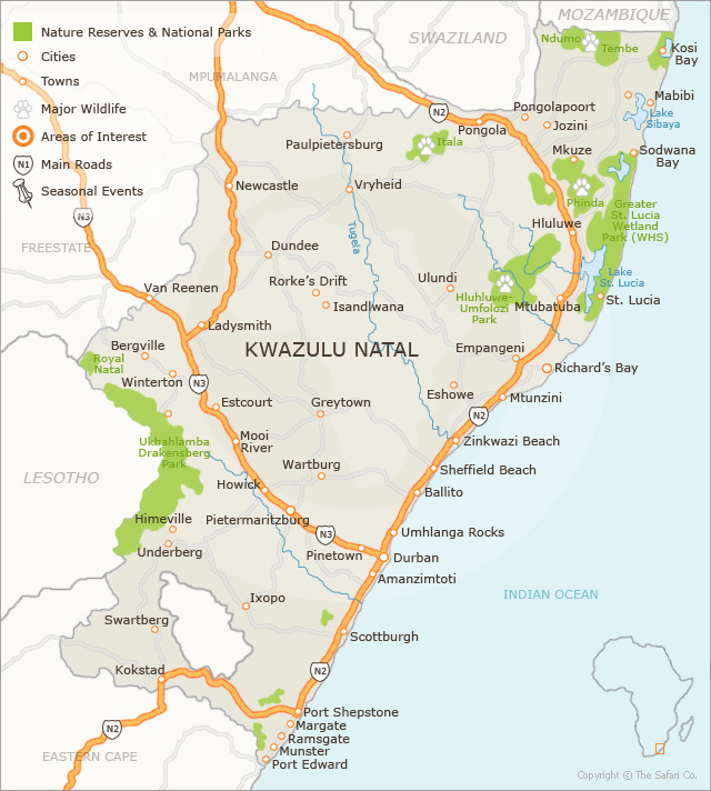 KwaZulu Natal Map | Detailed Map of KZN | Find Attractions, Game